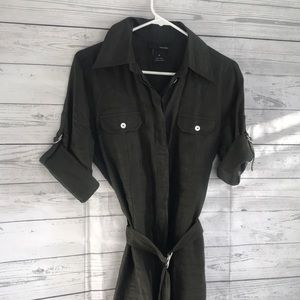 Linen Dark Olive Green Button Down Dress with Belt for sale